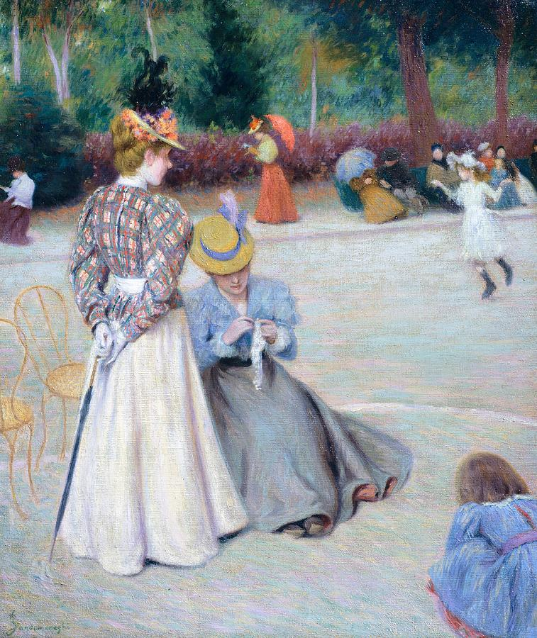 Painting; 19th Century Painting; Europe; Italy; Zandomeneghi Federico; Clothing; Female Figure; Centuries; 19th; Impressionism Painting - Games At Park by Federico Zandomeneghi