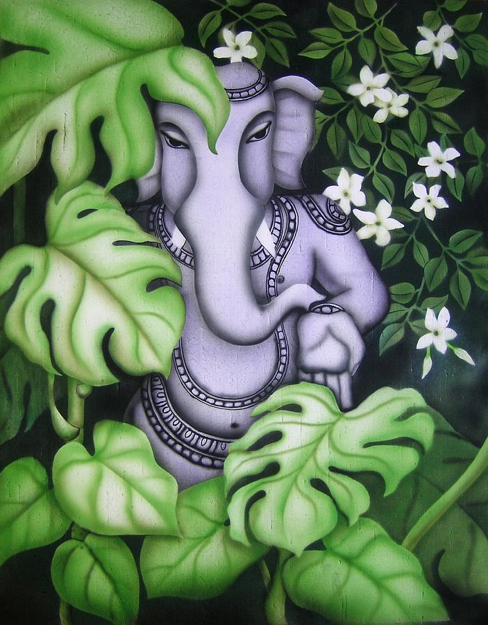 Ganesh With Jasmine Flowers Painting  - Ganesh With Jasmine Flowers Fine Art Print