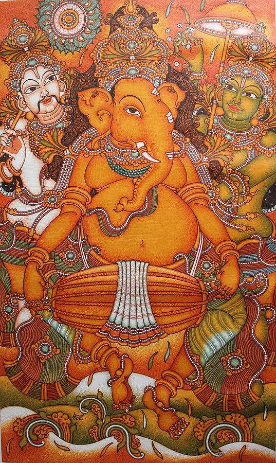 Ganesha the musician painting by pramod m v for Mural art of ganesha