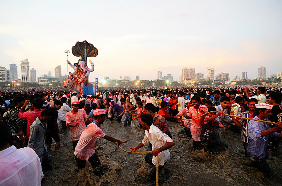 India Photograph - Ganeshas Final Procession by Money Sharma
