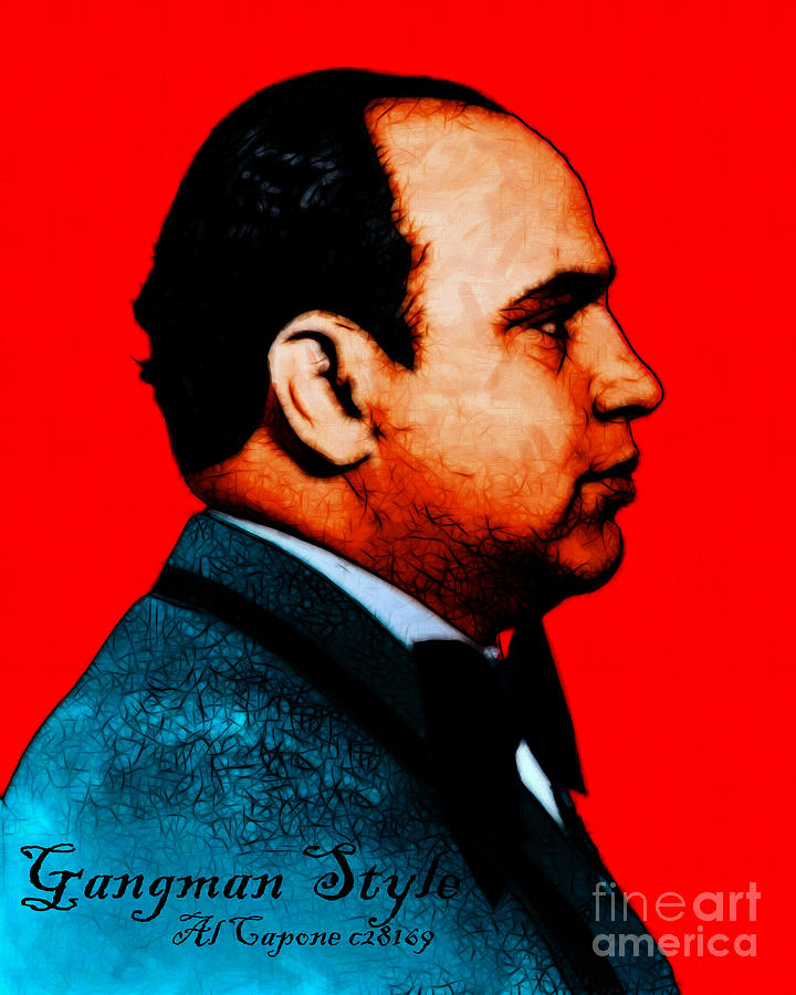Gangman Style - Al Capone C28169 - Red - Painterly Photograph  - Gangman Style - Al Capone C28169 - Red - Painterly Fine Art Print