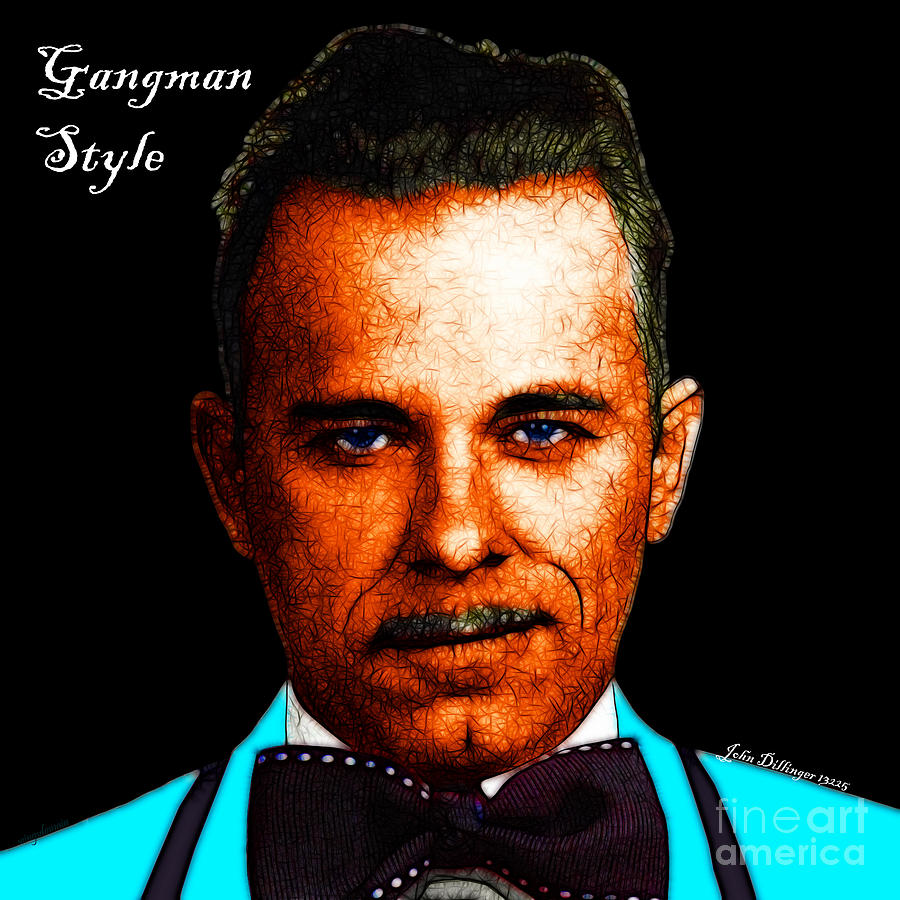 Gangman Style - John Dillinger 13225 - Black - Color Sketch Style - With Text Photograph