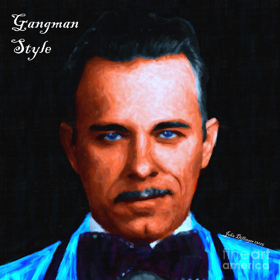 Gangman Style - John Dillinger 13225 - Black - Painterly - With Text Photograph  - Gangman Style - John Dillinger 13225 - Black - Painterly - With Text Fine Art Print