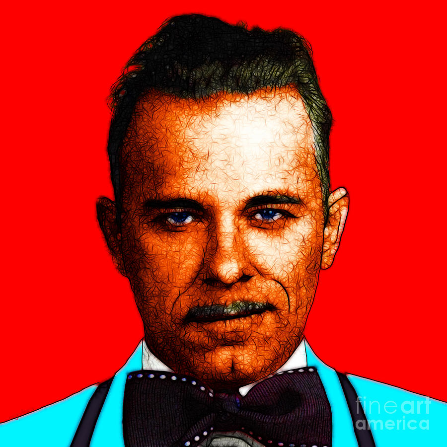 Gangman Style - John Dillinger 13225 - Red - Color Sketch Style Photograph