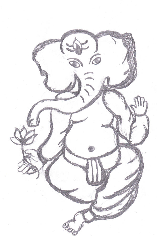 Ganpati With Lotus Drawing  - Ganpati With Lotus Fine Art Print