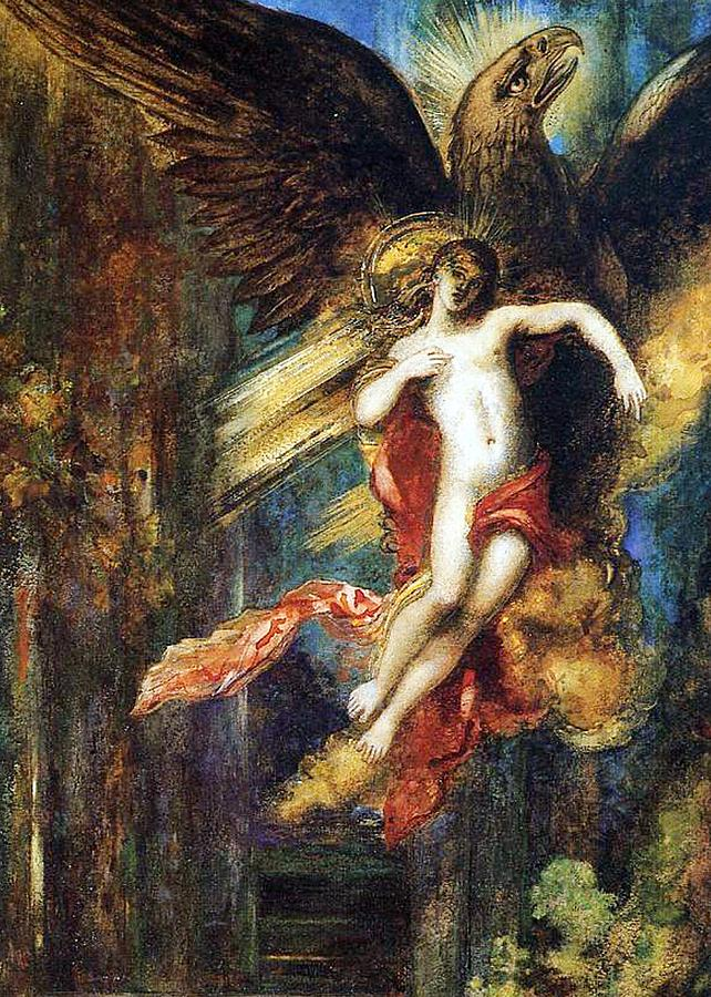 Jupiter; Bird; Taken; Abduction; Mythology; Mythological; Male; Youth; Youthful; Young; Wings; Winged; Kidnapping; Kidnap; Transformation; Metamorphosis; Greek Myth; Abduct; Flight; Flying; Nude; God; Deity; Landscape; Dog; Carrying Painting - Ganymede by Gustave Moreau
