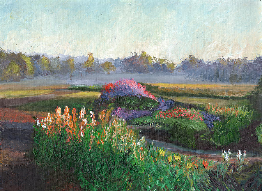 Garden At Sunrise Painting