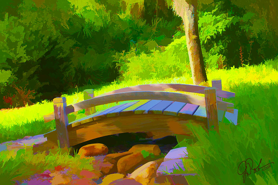 Painting Painting - Garden Bridge by Gerry Robins