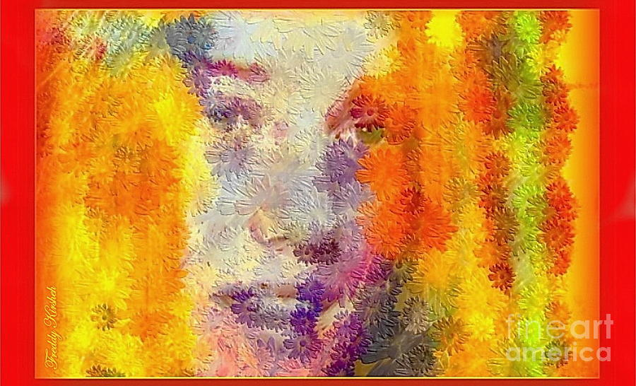 Face.smile. Flowers Mixed Media - Garden Flowers by Freddy Kirsheh