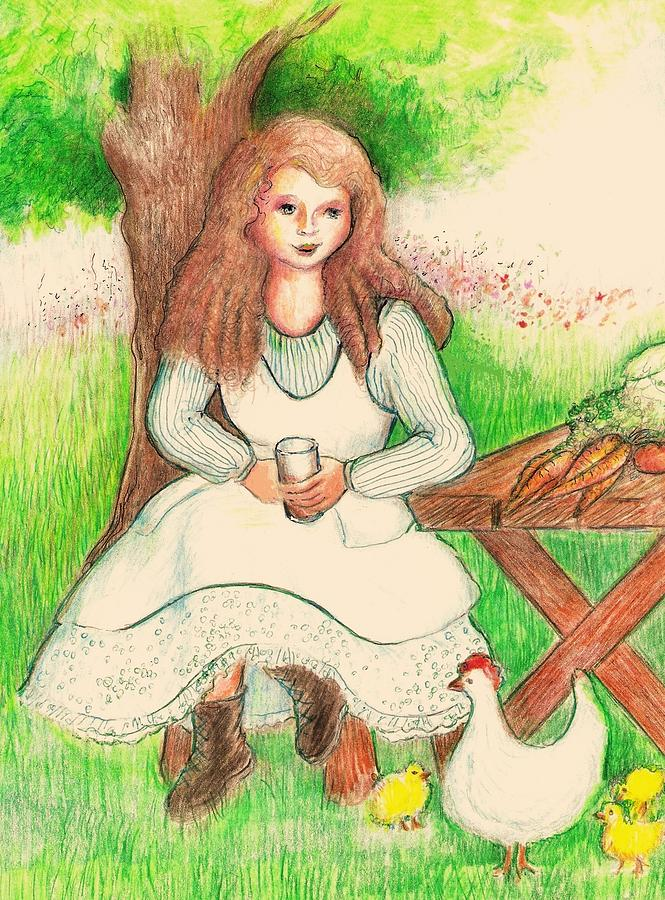 Garden Girl Taking A Break Drawing  - Garden Girl Taking A Break Fine Art Print