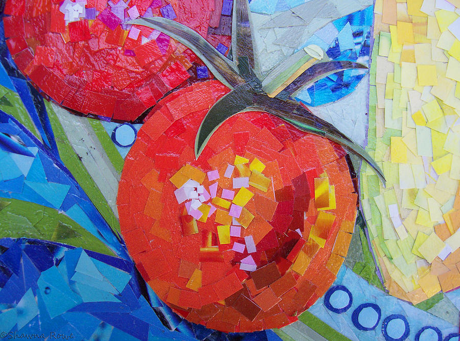 Garden Harvest Collage Detail Mixed Media