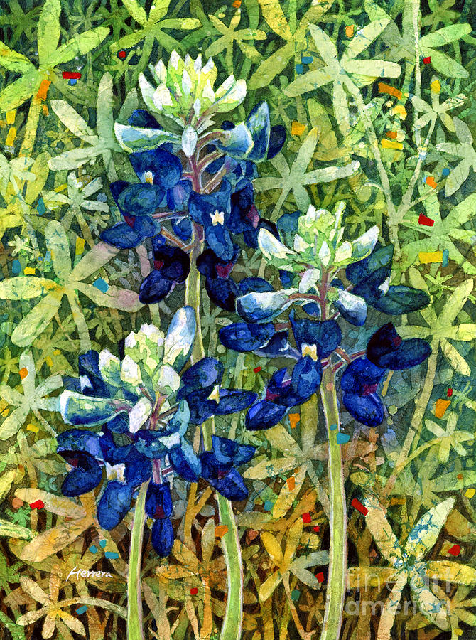 Bluebonnet Painting - Garden Jewels I by Hailey E Herrera