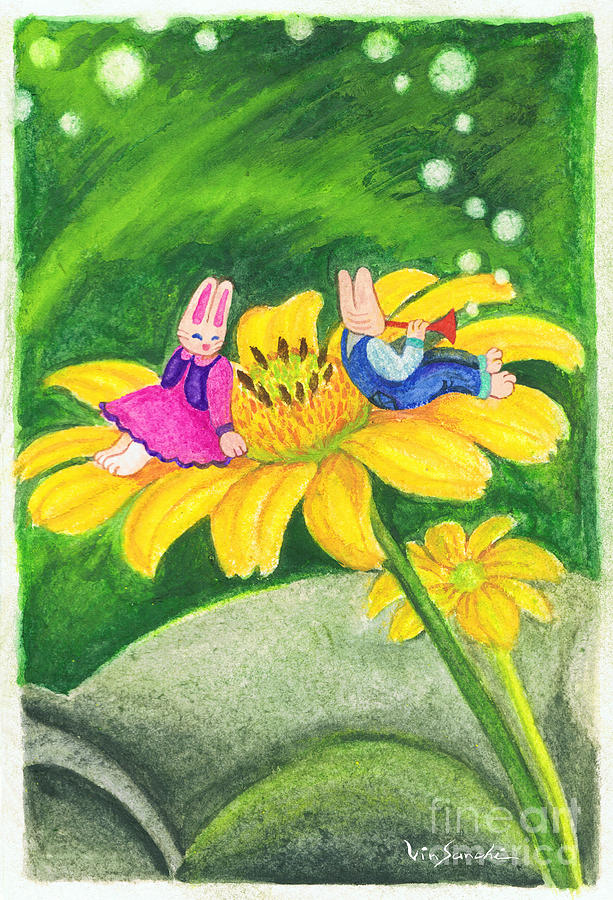 Garden Rabbit17 Heliopsis Painting