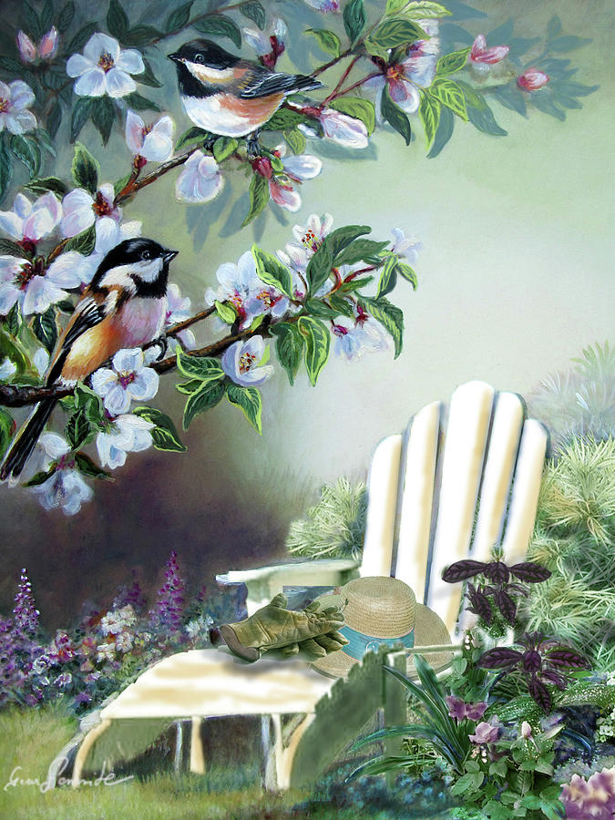Garden Scene Chickadees In Blossum Tree Painting  - Garden Scene Chickadees In Blossum Tree Fine Art Print