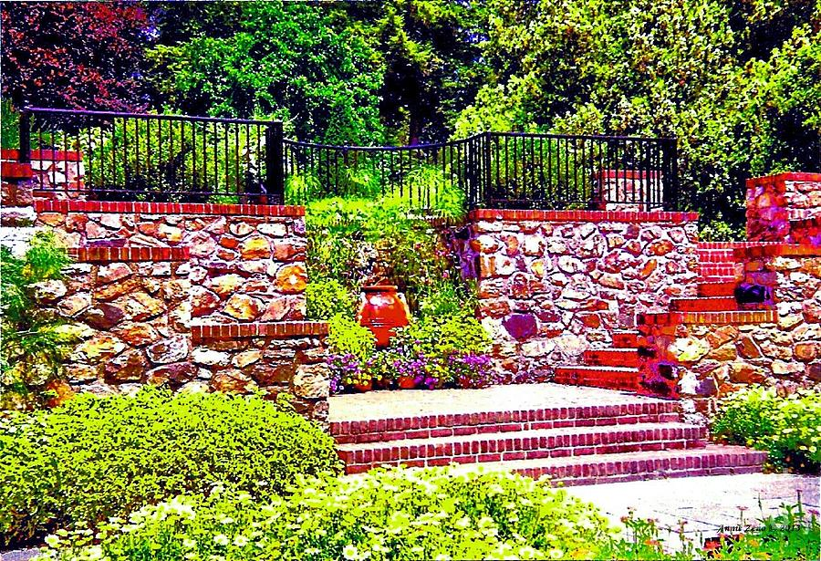 Garden With Stone Wall Photograph by Annie Zeno - Garden With ...