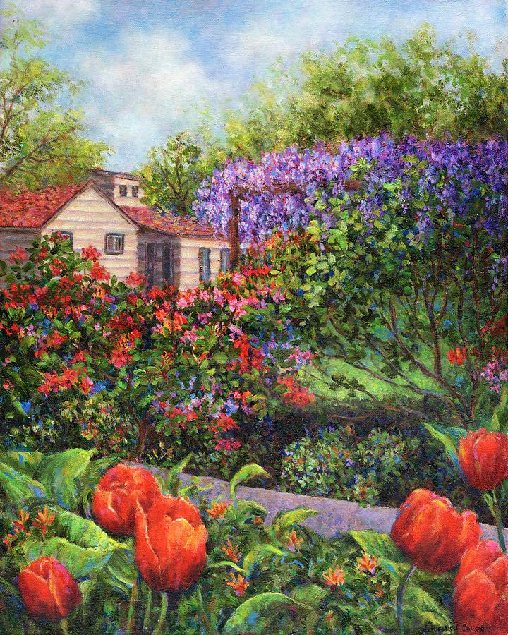 Spring Painting - Garden With Tulips And Wisteria by Susan Savad
