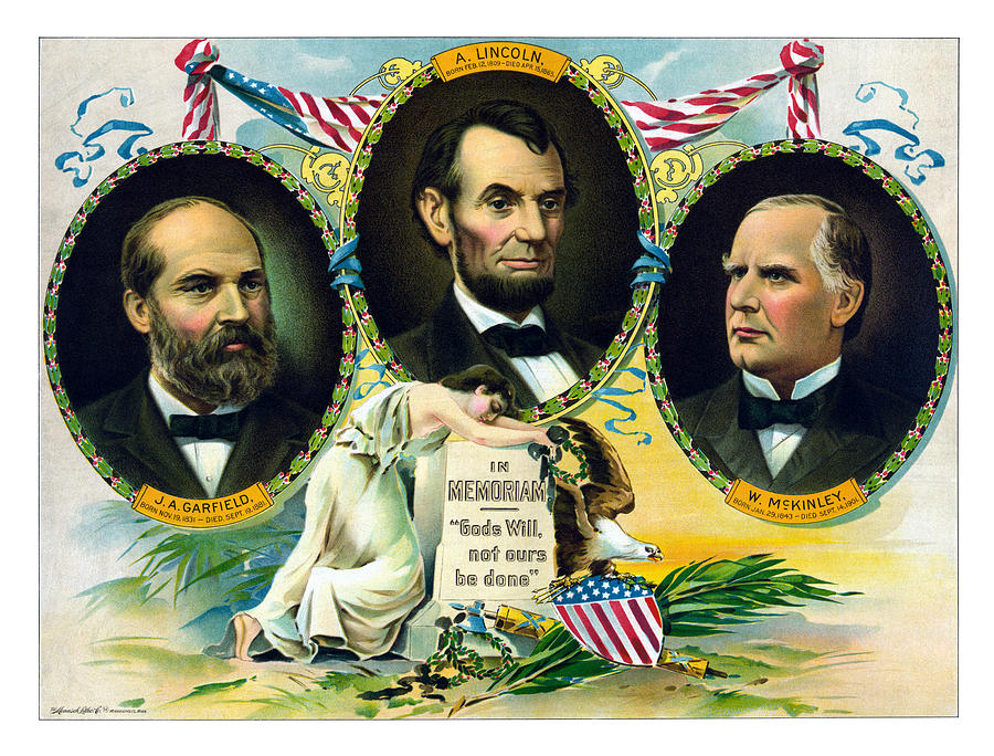 Garfield Lincoln And Mckinley In Memoriam Painting