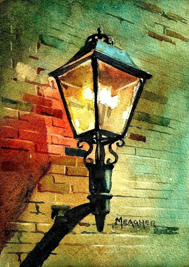 Gas Lamp Painting  - Gas Lamp Fine Art Print