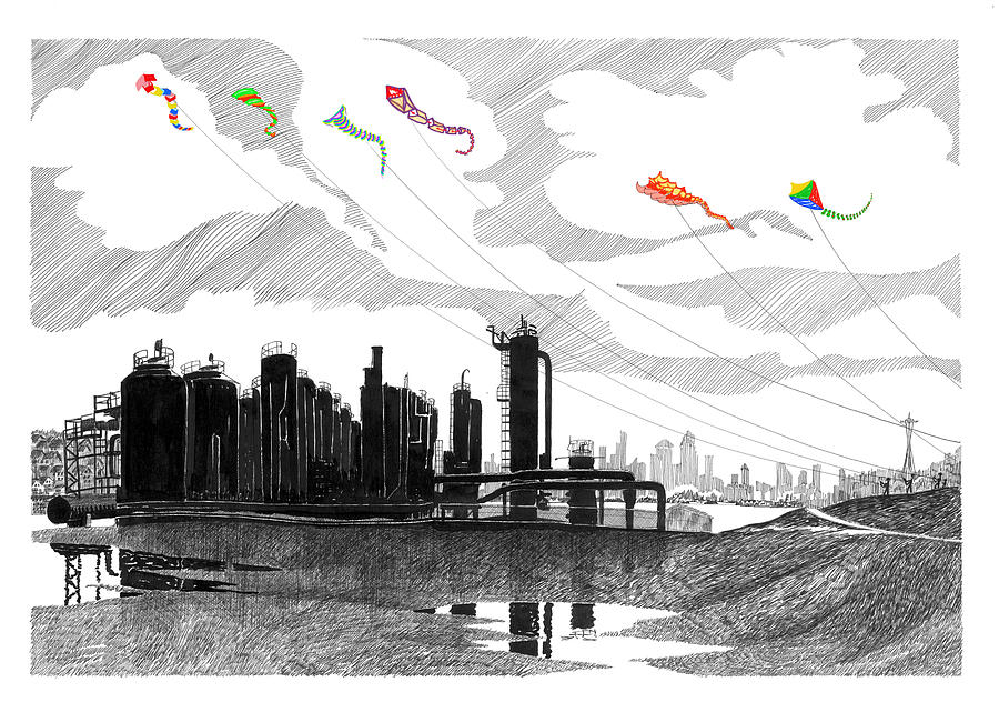 Gas Works Park Seattle Kite Flying  Drawing