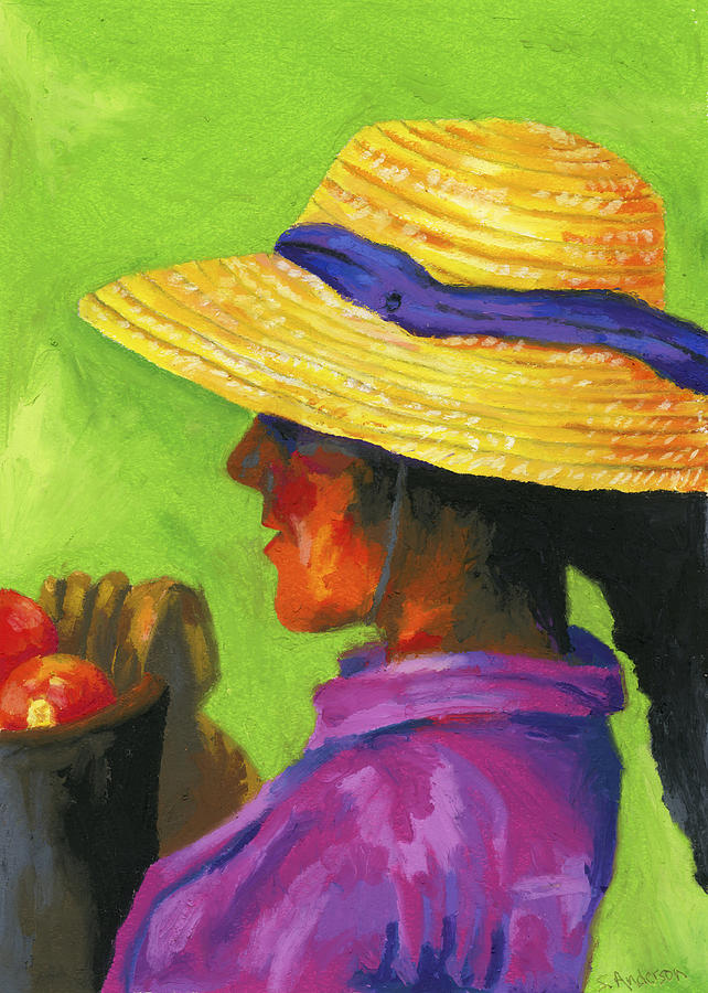 Gathering Tomatoes Painting