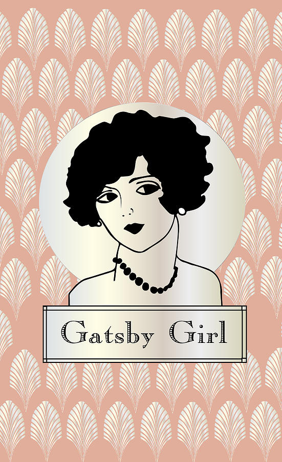Gatsby Girl In Pink Drawing  - Gatsby Girl In Pink Fine Art Print