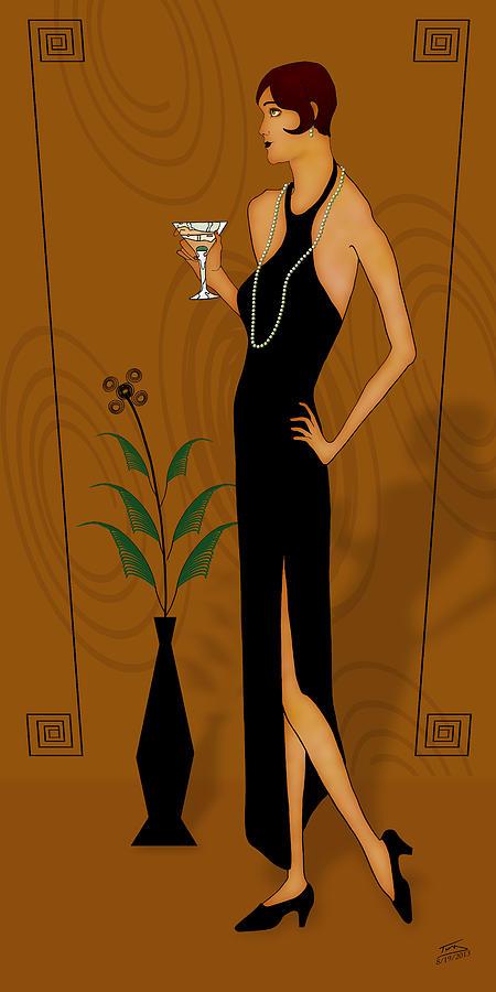 Gatsby Girl Drawing - Gatsby Girl by Troy Brown