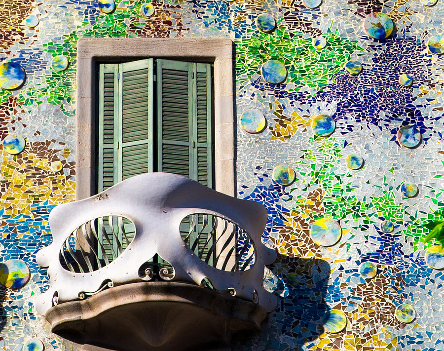 Gaudis Skull Balcony And Mosaic Walls Photograph  - Gaudis Skull Balcony And Mosaic Walls Fine Art Print