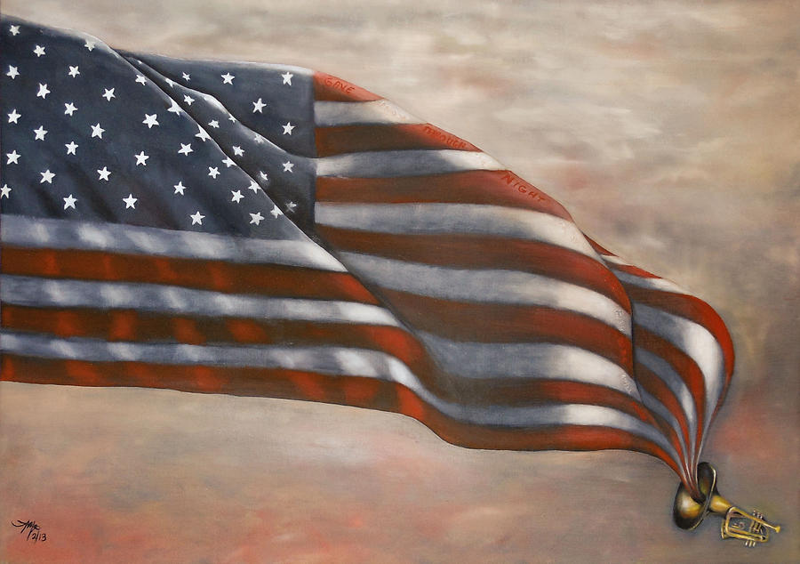 American Flag Painting - Gave Proof Through The Night by Michelle Iglesias
