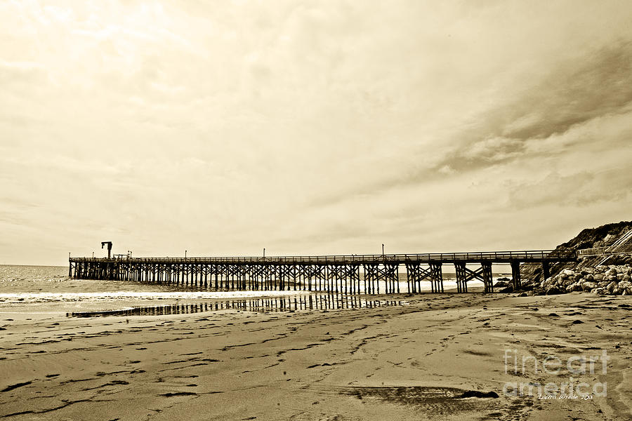 Gaviota Pier In Morning Sepia Tone Photograph
