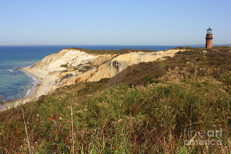 Gay Head Lighthouse With Aquinnah Beach Cliffs Photograph  - Gay Head Lighthouse With Aquinnah Beach Cliffs Fine Art Print
