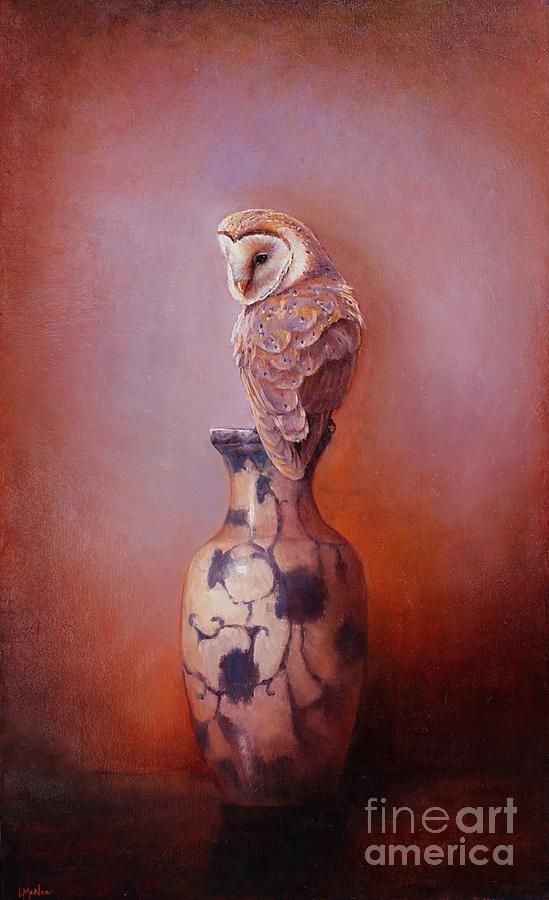 Gazing - Barn Owl Painting  - Gazing - Barn Owl Fine Art Print
