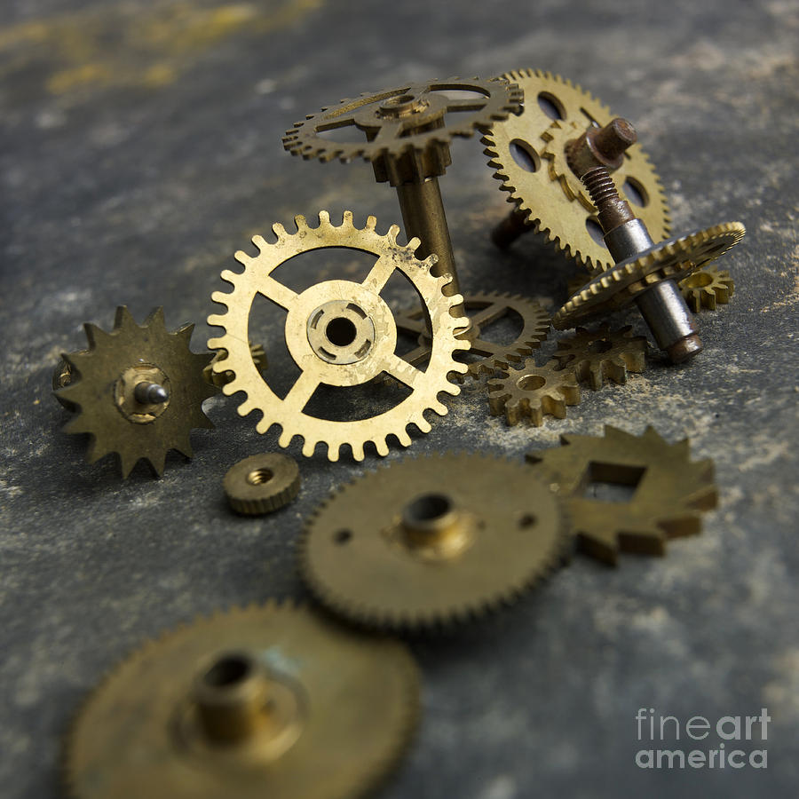 Studio Shot; Textured Background; Textured Effect; Still Life; Close-up; Cut Out; Nobody; Several Objects; Tool; Axle Gear; Gears; Detail; Mechanism; Metal; Accuracy; Circle; Deserted; Disc; Disk; Filming; Hole; Indoors; Industry; Jag; Mechanically; Gold; Round; Spinning; Sprocket; Technology; Transmission Device; Turning Photograph - Gears by Bernard Jaubert