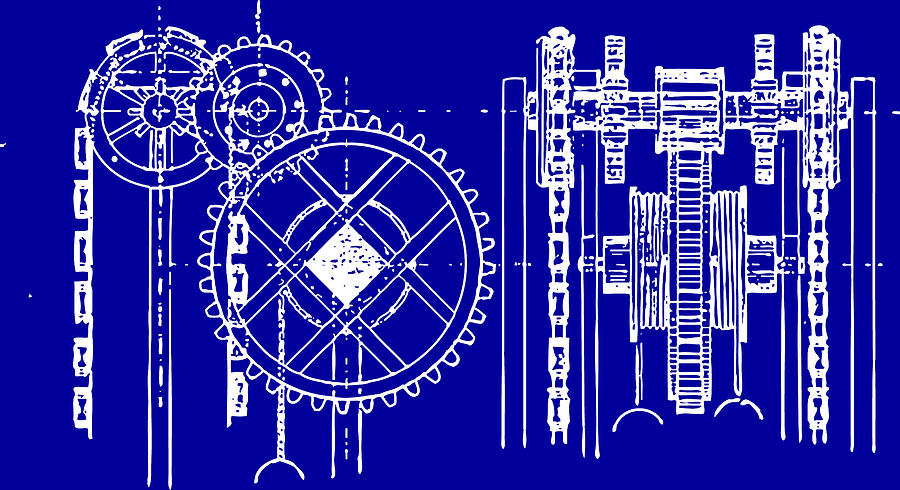 Gears Blueprint Drawing  - Gears Blueprint Fine Art Print