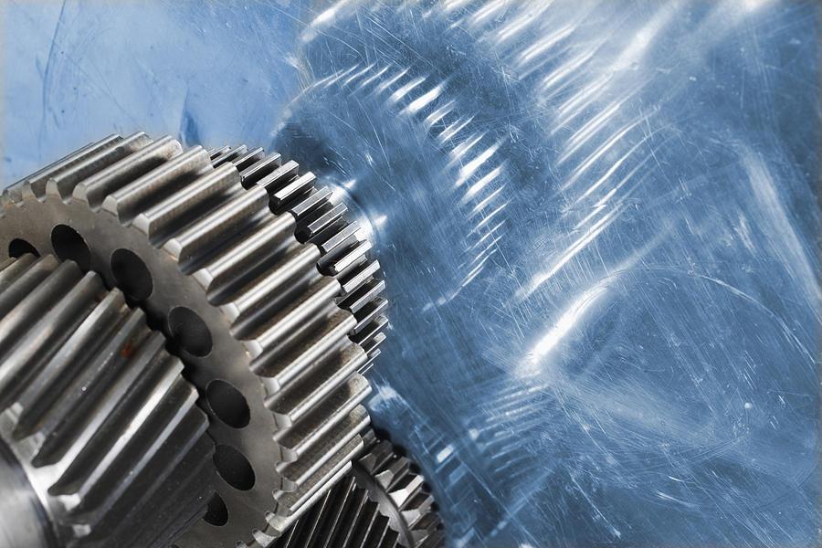 Gears Photograph - Gears Industrial Engineering In Blue by Christian Lagereek