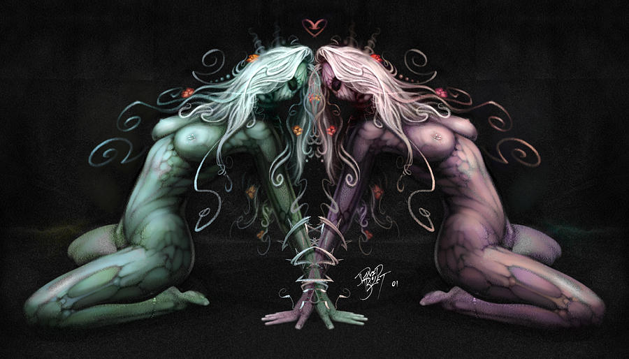 Gemini Heart Digital Art  - Gemini Heart Fine Art Print
