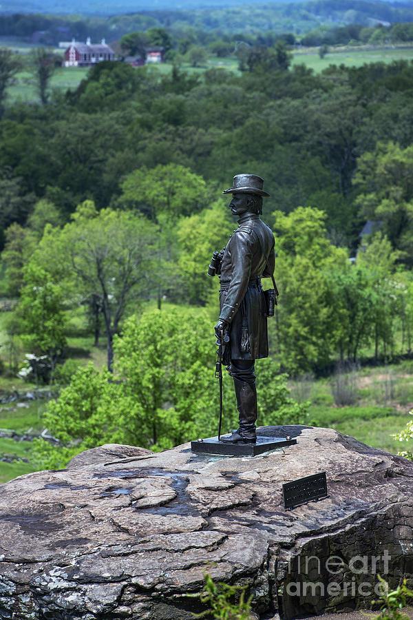 General Kemble Warren At Little Round Top Photograph