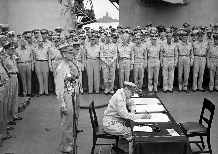 General Macarthur Signing The Japanese Surrender Photograph