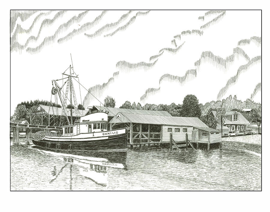 Fishing Boat Stanish Dock Gig Harbor Drawing - Genius Ready To Fish Gig Harbor by Jack Pumphrey