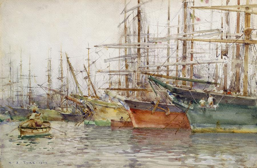 Genoa Harbour, 1904 Painting