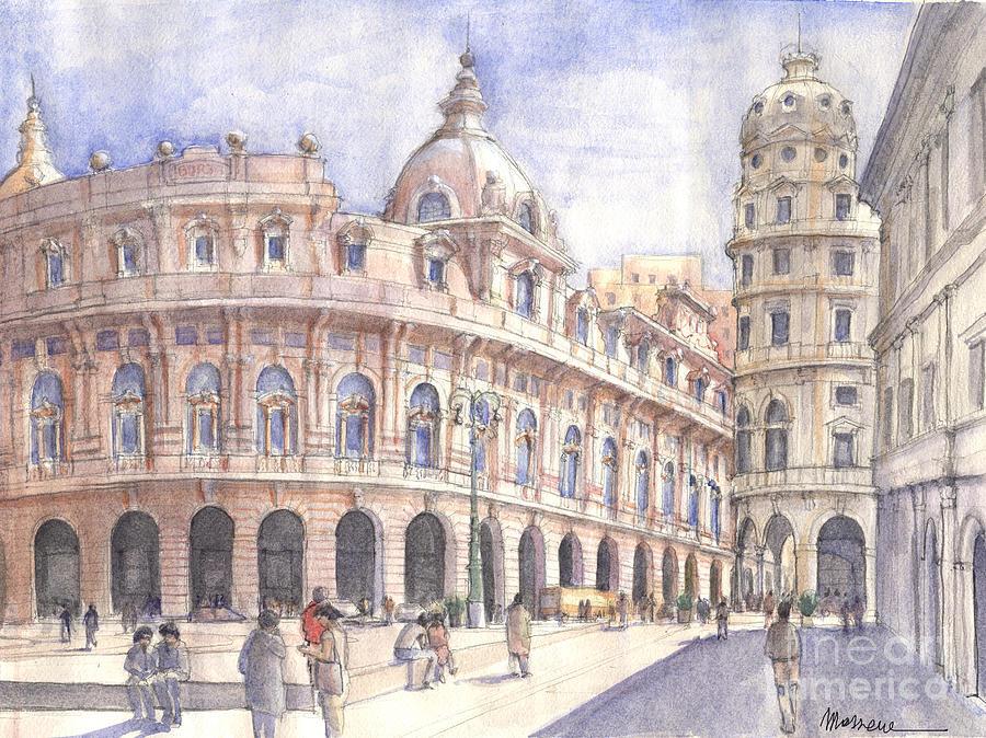 Watercolor Genova Color Piazza Luca Massone Painting - Genova Piazza De Ferrari by Luca Massone