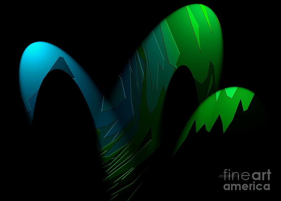 Abstract Art Digital Art - Geometric Art Designs In Blue And Green by Mario Perez