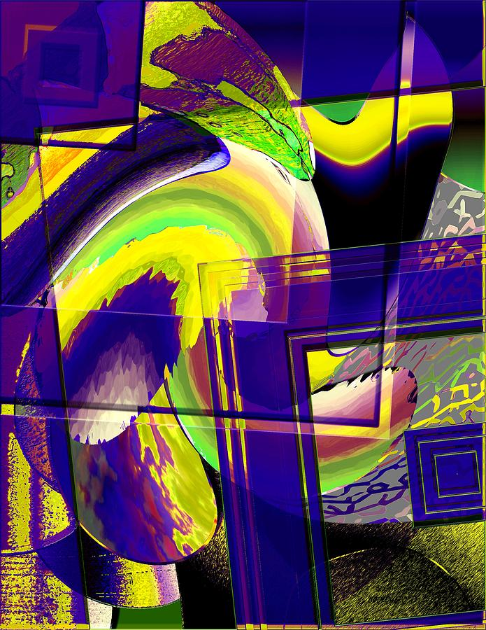 Geometrical Art With Yellow And Lilac Digital Art