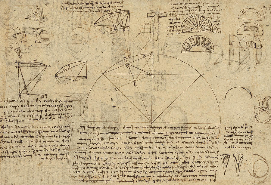 Leonardo Drawing - Geometrical Study About Transformation From Rectilinear To Curved Surfaces And Vice Versa From Atlan by Leonardo Da Vinci