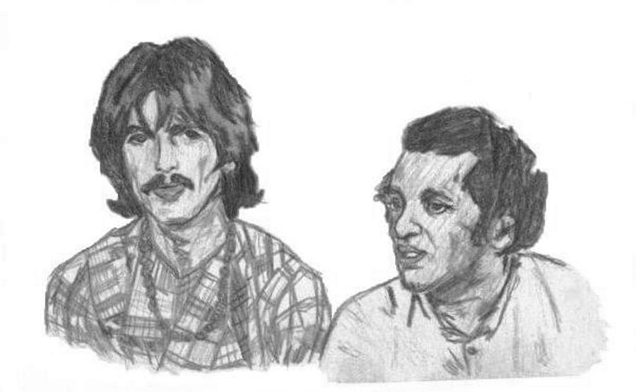 George Harrison And Ravi Shankar 1969 Drawing  - George Harrison And Ravi Shankar 1969 Fine Art Print