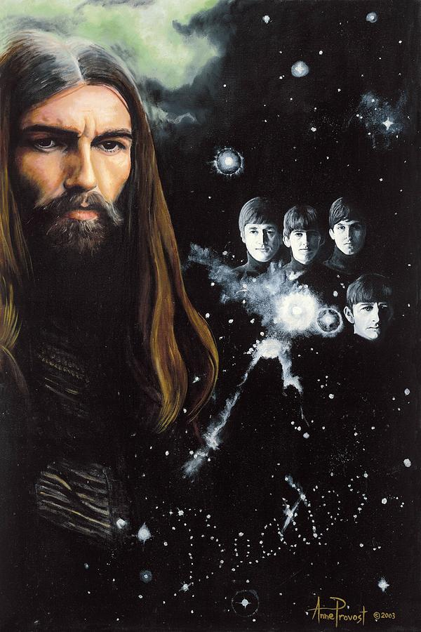 George Harrison Portrait Painting - George Harrison And The Beatles by Anne Provost