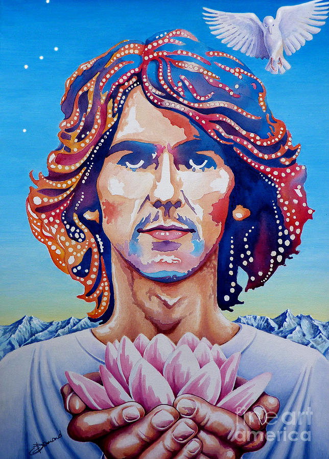 George Harrison Beatles Psychedelic Dove Lotus Himalayas Orion Painting - George Harrison by Debbie  Diamond