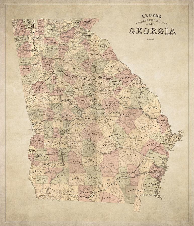Georgia Map Art  Vintage Antique Map Of Georgia Drawing