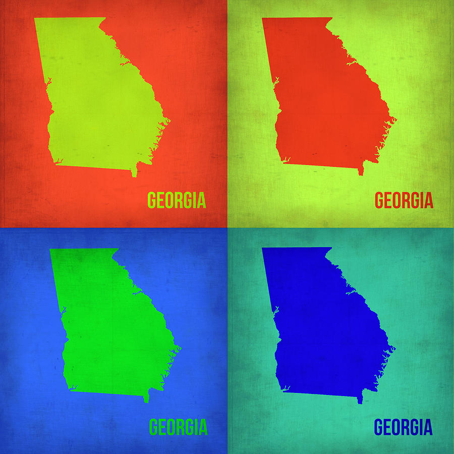 Georgia Map Painting - Georgia Pop Art Map 1 by Naxart Studio