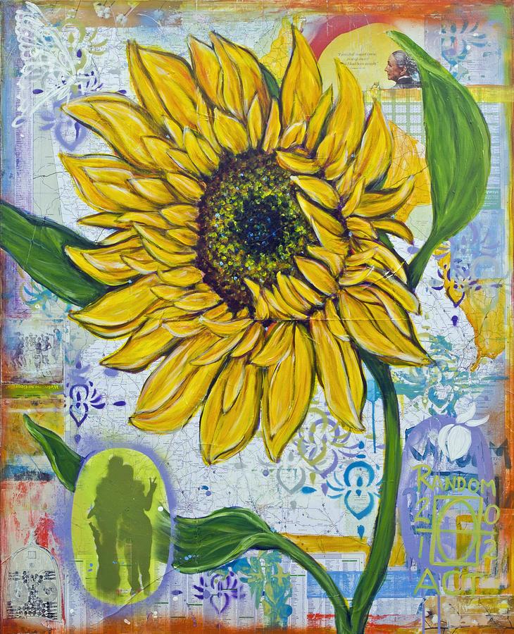 Andrea Lahue Painting - Georgia Sunflower by Random Act aka Andrea LaHue