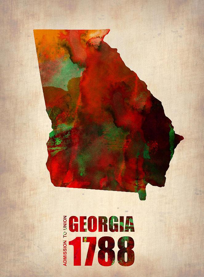 Georgia Watercolor Map Digital Art
